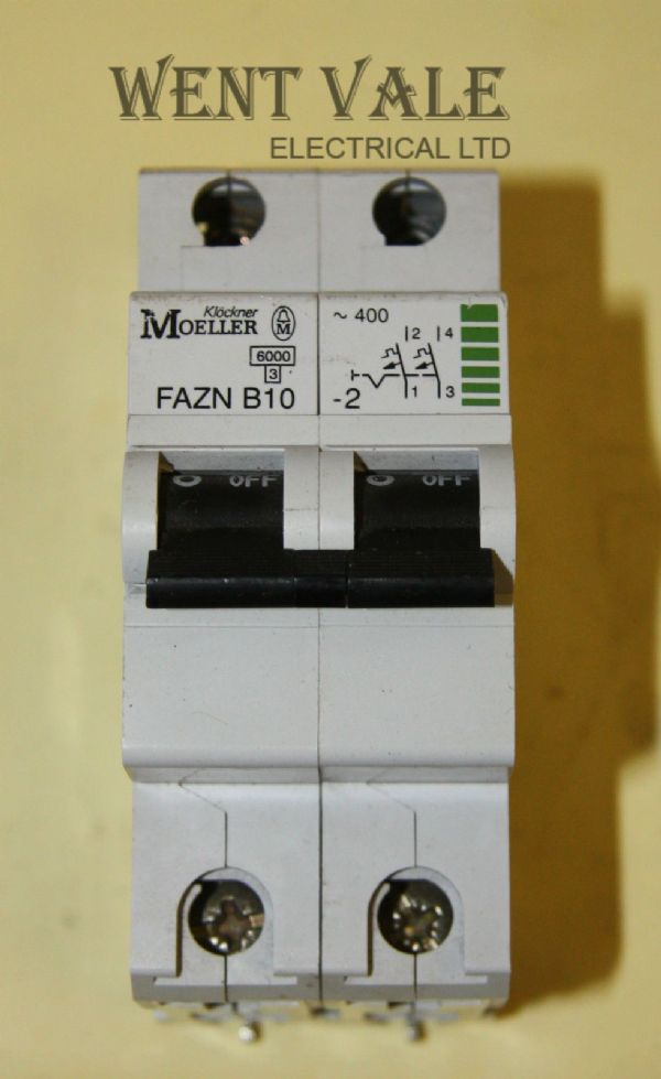 Moeller FAZN B10-2 - 10a Type B Double Pole MCB Used